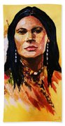 Maiden In White Feather And Beads Hand Towel