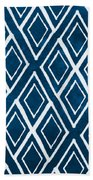 Indgo And White Diamonds Large Bath Towel by Linda Woods