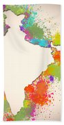 India Watercolor Map Painting Bath Towel