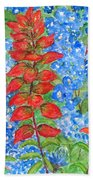 Indian Paintbrush And Bluebonnets Bath Towel