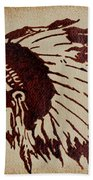 Indian Wise Chief Coffee Painting Bath Towel