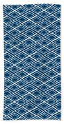 Indigo And White Small Diamonds- Pattern Bath Towel