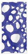 Indigo Bubbles- Contemporary Absrtract Watercolor Bath Towel