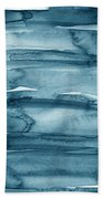 Indigo Water- Abstract Painting Hand Towel by Linda Woods