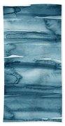 Indigo Water- Abstract Painting Bath Towel by Linda Woods
