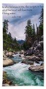 Inspirational Bible Scripture Emerald Flowing River Fine Art Original Photography Bath Towel