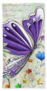 Inspirational Butterfly Flower Art Inspiring Quote Design By Megan Duncanson Bath Towel