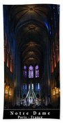 Interior Of Notre Dame De Paris Bath Towel