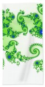 Intricate Green Blue Fractal Based On Julia Set Bath Towel