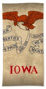 Iowa State Flag Art On Worn Canvas Hand Towel