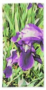 Irises In The Garden Bath Towel