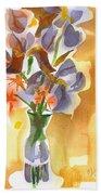 Irises With Stars Of Bethlehem Bath Towel