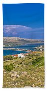 Island Of Pag Aerial Bay View Bath Towel