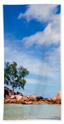 Islands And Clouds, The Seychelles Bath Towel