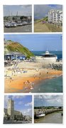 Isle Of Wight Collage - Labelled Bath Towel