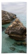 It Rocks 2 - Close To Son Bou Beach And San Tomas Beach Menorca Scupted Rocks And Turquoise Water Bath Towel