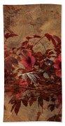 Italian Impasto Style Coral Floral Branch Bath Towel
