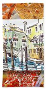 Italy Sketches Venice Canale Bath Towel