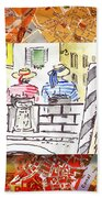 Italy Sketches Venice Two Gondoliers Bath Towel