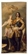 Peter I With Minerva With The Allegorical Figure Of Glory Bath Towel