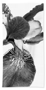 Japanese Iris Flower Monochrome Bath Towel