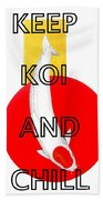 Japanese Koi Tancho Red And Gold Painting Bath Towel