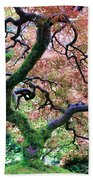 Japanese Tree In Garden Bath Towel