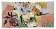 Japanese Vase With Roses And Anemones Bath Towel
