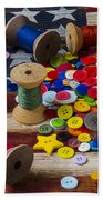 Jar Of Buttons And Spools Of Thread Bath Towel by Garry Gay