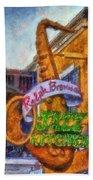 Jazz Kitchen Signage Downtown Disneyland Photo Art 02 Bath Towel