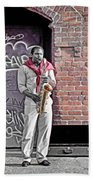 Jazz Man - Street Performer Bath Towel