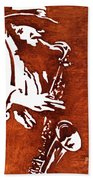 Jazz Saxofon Player Coffee Painting Hand Towel