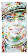 Jean Renoir Watercolor Portrait Bath Towel
