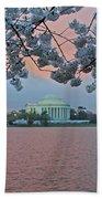 Jefferson Memorial Cherry Blossoms Bath Towel