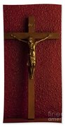 Jesus On Cross Against Red Wall Hand Towel