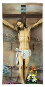 Jesus Statue At Latin Church In Taybeh Hand Towel