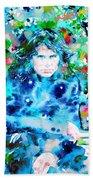 Jim Morrison Watercolor Portrait.3 Bath Towel
