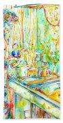 Jimi Hendrix In The Kitchen Watercolor Portrait Hand Towel