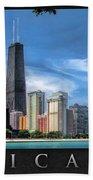 John Hancock Chicago Skyline Panorama Poster Bath Towel