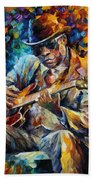 John Lee Hooker - Palette Knife Oil Painting On Canvas By Leonid Afremov Bath Towel