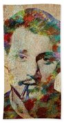 Johnny Depp Watercolor Splashes Hand Towel