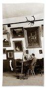 Joseph Kurtz Oliver Artist In His Studio Monterey Circa 1905 Bath Towel