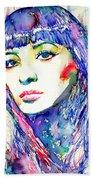 Juliette Greco - Colored Pens Portrait Bath Towel