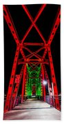 Junction Bridge - Red Bath Towel