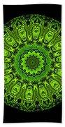 Kaleidoscope Triptych Of Glowing Circuit Boards Bath Towel