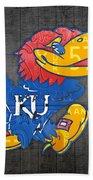 Kansas Jayhawks College Sports Team Retro Vintage Recycled License Plate Art Bath Towel