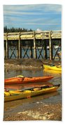 Kayaks By The Pier Bath Towel