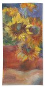 Keep On The Sunny Side - Original Contemporary Impressionist Painting - Sunflower Bouquet Bath Towel