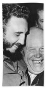 Khrushchev And Castro Hand Towel