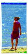 Kids Playing On The Seashore Mom And Little Boys Pointe Claire Montreal Waterscene Carole Spandau Bath Towel
